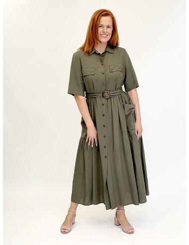 Lininė suknelė žalia